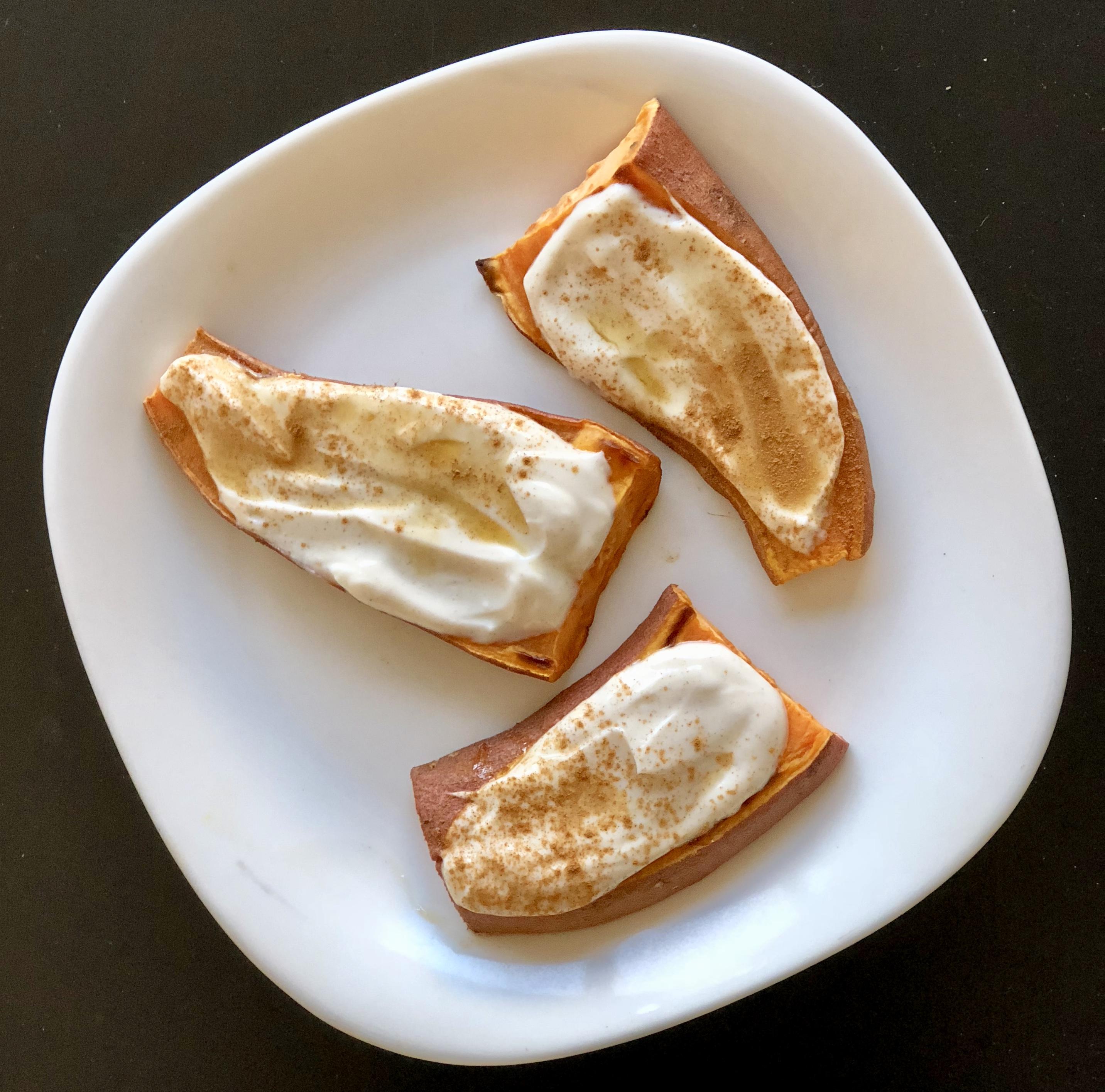 Sweet Potato Maple Skyr Crostini