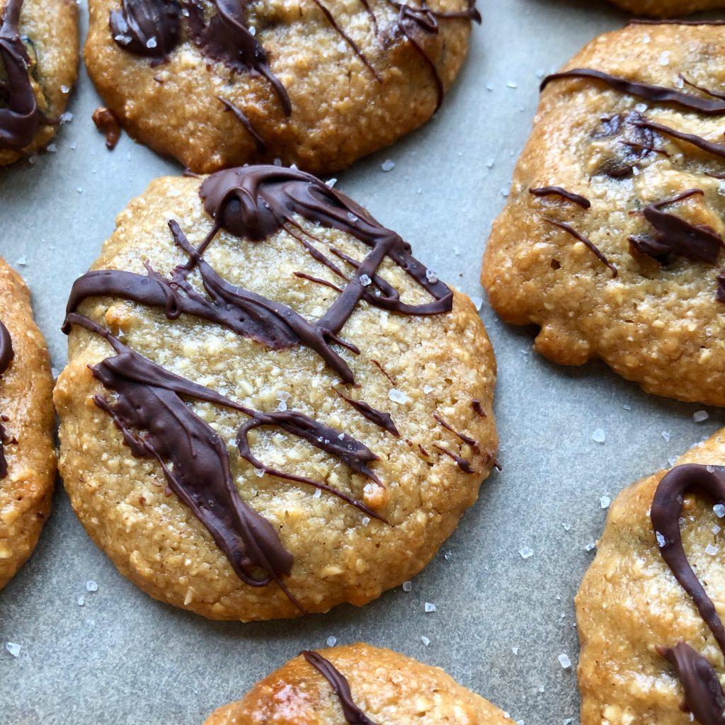 SquareCookieCloseUp 1024x1024 - Gluten-Free Tahini Oat Flour Chocolate Chip Cookies