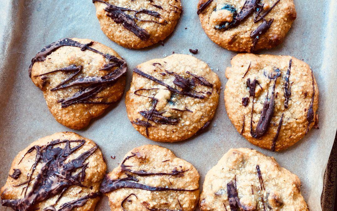 Gluten-Free Tahini Oat Flour Chocolate Chip Cookies