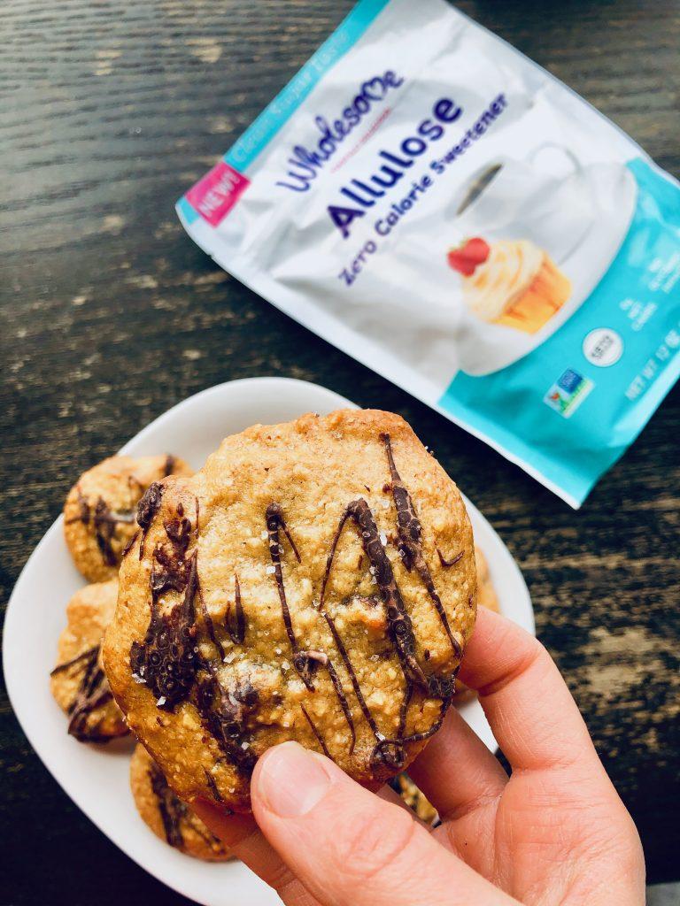 VividCoolCookieInHand 768x1024 - Gluten-Free Tahini Oat Flour Chocolate Chip Cookies